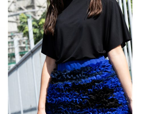 Fashion photographer Amsterdam campaign Haruco-vert cobalt blue army pattern chiffon skirt