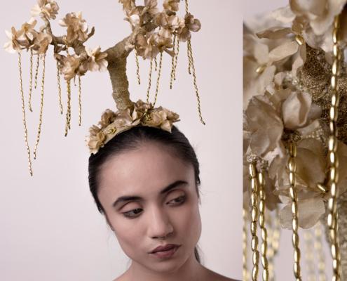 Golden tree headpiece by Haruco-vert - Fashion photo by Ruud van Ooij