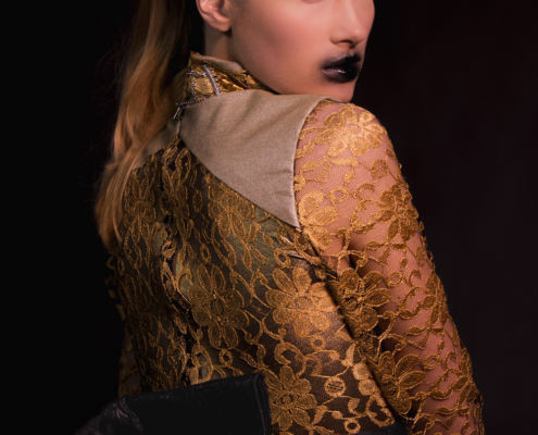 Golden lace dress with obi corset belt smudged black lips - Fashion photography by Ruud van Ooij