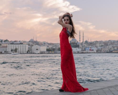 Istanbul fashion editorial red long dress by Ruud van Ooij