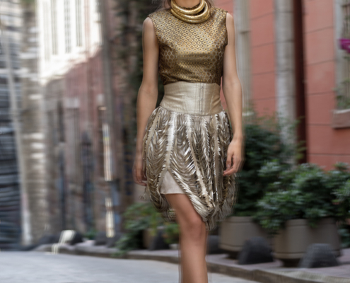 Istanbul fashion editorial golden outfit by Ruud van Ooij