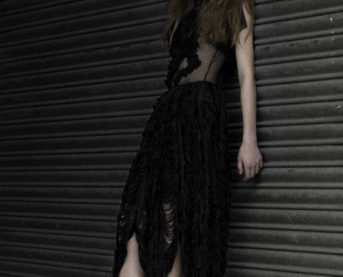 Black lace dress Haruco-vert - Fashion editorial Amsterdam Ruud van Ooij