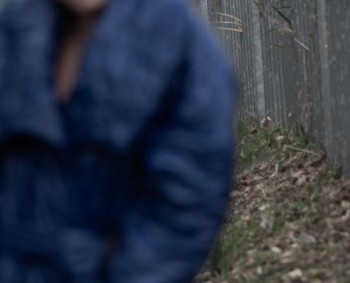 Blue coat by Haruco-vert model Roos de Vries - Fashion photography by Ruud van Ooij