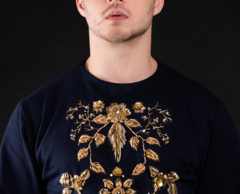 Goldwork embroidery with real diamonds sweater - Fashion campaign by Ruud van Ooij
