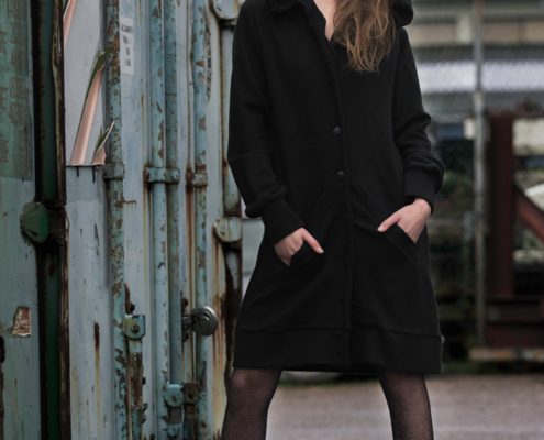 Oversized black hoodie dress by Haruco-vert - Fashion editorial Amsterdam Ruud van Ooij