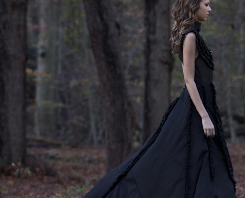 Black dress with train in woods Haruco-vert - Fashion photography Amsterdam Ruud van Ooij