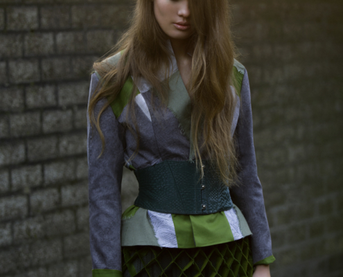 Green and green jacket with honeycomb skirt by Haruco-vert - Fashion photo Ruud van Ooij