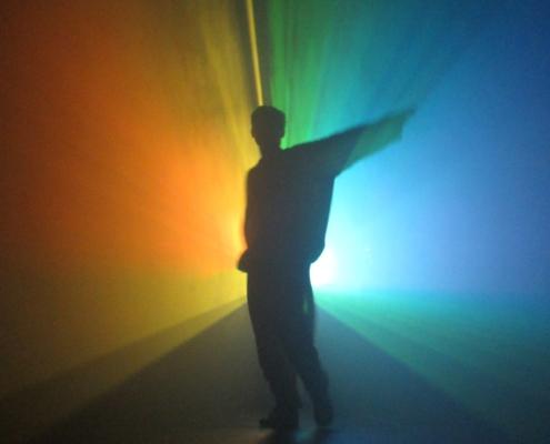 The Knife concert Amsterdam dancer rainbow lightning- Art photography Ruud van Ooij