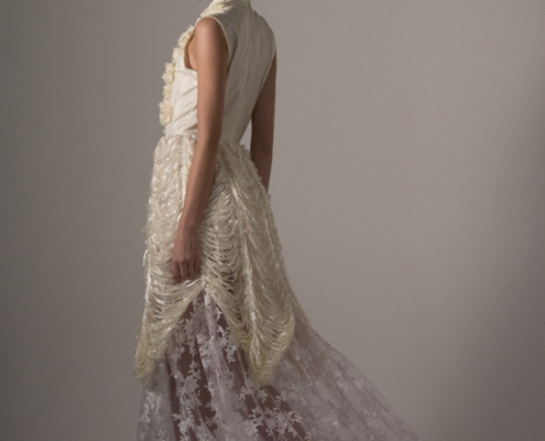 White dress with lace and cut fabric Haruco-vert - Fashion photography Amsterdam Ruud van Ooij
