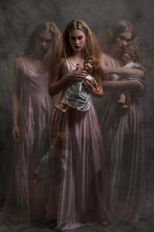 Pink dress ghosts vintage doll - Fashion photography Amsterdam Ruud van Ooij