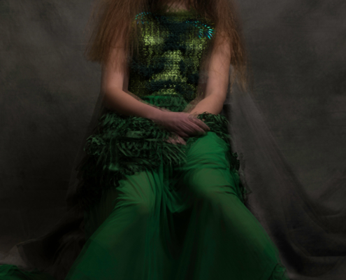 Broken doll green dress - Fashion photography Amsterdam Ruud van Ooij